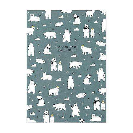 Caderno Brochura Chaque Jour Est Une Bonne Journée Urso Polar Azul - Artbox