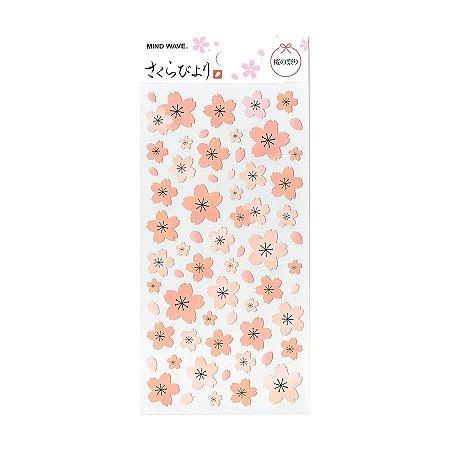 Adesivo Divertido Papel - Sakura Byori Flores de Sakura Rosa
