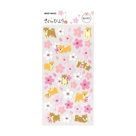 Adesivo Divertido Papel - Sakura Byori Flores de Sakura Akita Inu Rosa