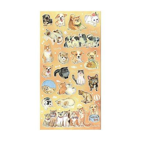 Adesivo Divertido Papel - Cachorros e Gatos