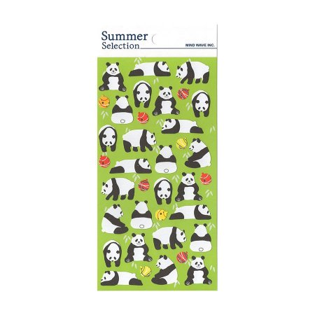 Adesivo Divertido Papel - Summer Selection Panda Verde