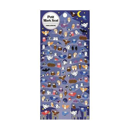 Adesivo Divertido Papel -  Petit Mark Seal Corujas Azul