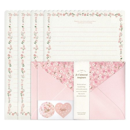 Papel de Carta Je T'aimerai Taujours Floral Rosa