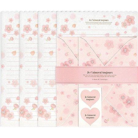 Papel de Carta Je T'Aimerai Toujours Floral Sakura Rosa
