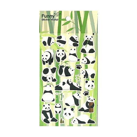 Adesivo Divertido Papel - Panda Bambu