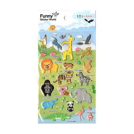 Adesivo Divertido Puffy - Animais Safari