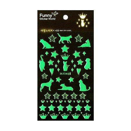 Adesivo Divertido Brilha no Escuro Epoxy - Animal