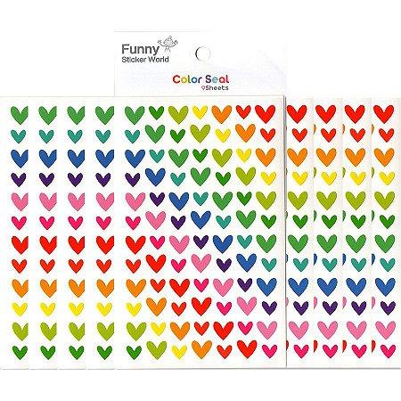 Adesivo Divertido Papel - Color Seal Corações Coloridos M 9 Cartelas