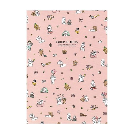 Caderno Brochura Cahier De Notes Coelho Michintokki Galapagos Friends Rosa - Artbox
