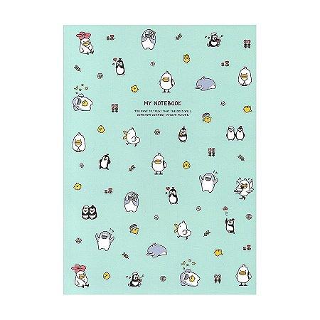 Caderno Brochura Cahier De Notes Galapagos Friends Verde Água - Artbox
