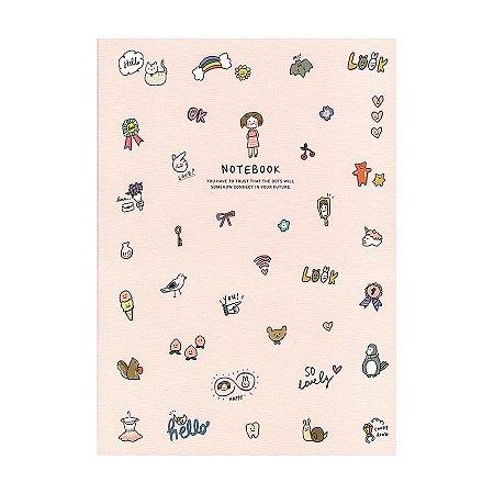 Caderno Brochura Notebook Desenhos Menina Rosa - Artbox