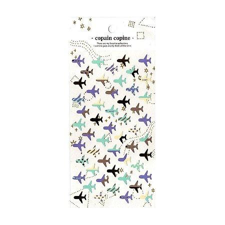 Adesivo Divertido Papel - Copain Copine Aviões Pastel Dourado