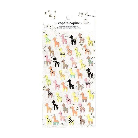Adesivo Divertido Papel - Copain Copine Girafas Pastel Dourado
