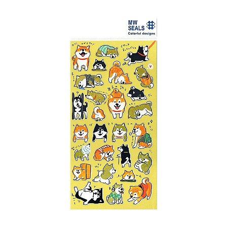 Adesivo Divertido Transparente - Cachorros MW Seals Amarelo