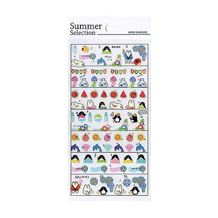 Adesivo Divertido Transparente - Summer Selection Verão Urso Polar Pinguim