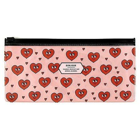 Pasta Plástica Zip 2 Bolsos Bonjour Corações Vermelho Rosa - Artbox