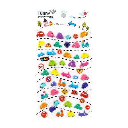 Adesivo Divertido Puffy - Carrinhos