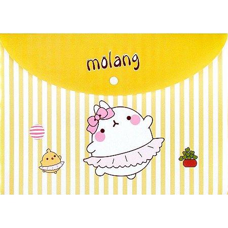 Pasta com Botão Molang - Listrado Amarelo