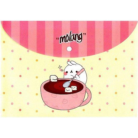 Pasta com Botão Molang - Poá Chocolate Amarelo e Rosa