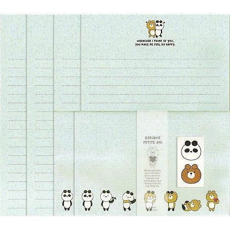 Papel de Carta Letter Set Bonjour Petite Ami Galapagos Friends Panda Oliver Verde Água