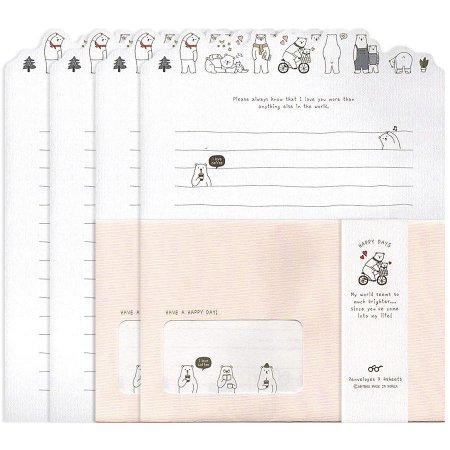 Papel de Carta Happy Days Urso Polar Rosa Claro