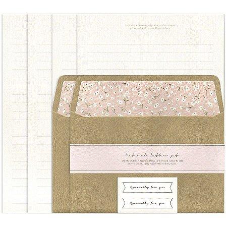 Papel de Carta Natural Letter Set Kraft Floral