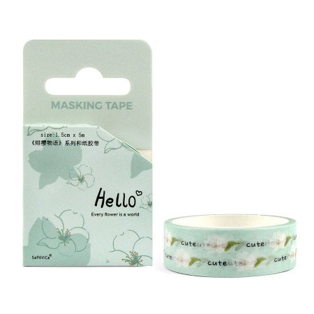 Fita Decorativa Washi Tape - Hello Sakura Verde Água
