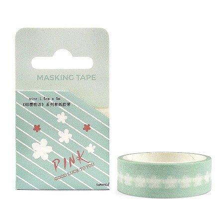 Fita Decorativa Washi Tape - Pink Sakura Verde Água