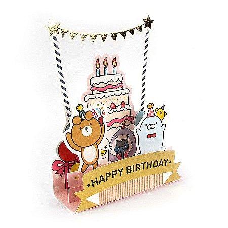 Cartão Pop Up 3D Happy Birthday  Galapagos Friends Bolo Bandeiras Dourado - Artbox
