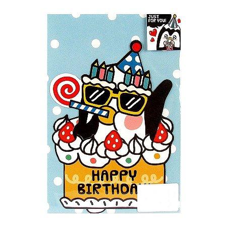 Cartão Just For You Happy Birthday Galapagos Friends Pinguim Bolo - Artbox