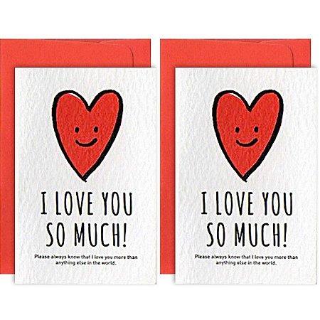 Mini Cartão Com 2 I Love You So Much Coração - Artbox