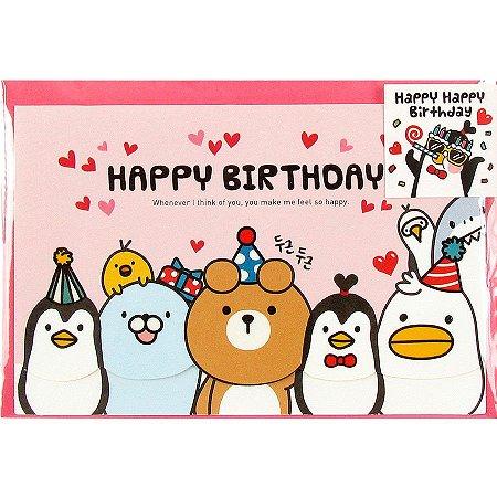 Cartão Happy Happy Birthday Galapagos Friends Rosa - Artbox