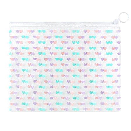 Pasta Plástica Zip Necessaire PVC Corações Tom Pastel