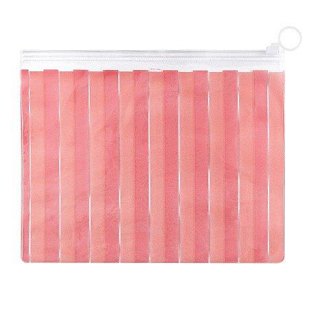 Pasta Plástica Zip Necessaire PVC Listrado Rosa