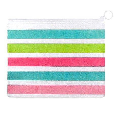 Pasta Plástica Zip Necessaire PVC Listrado Colorido