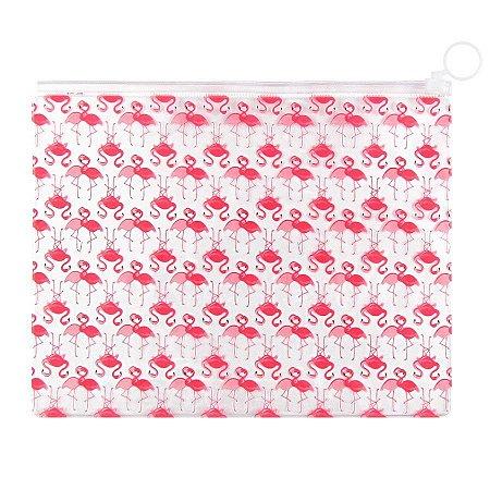 Pasta Plástica Zip Necessaire PVC Flamingos Rosa