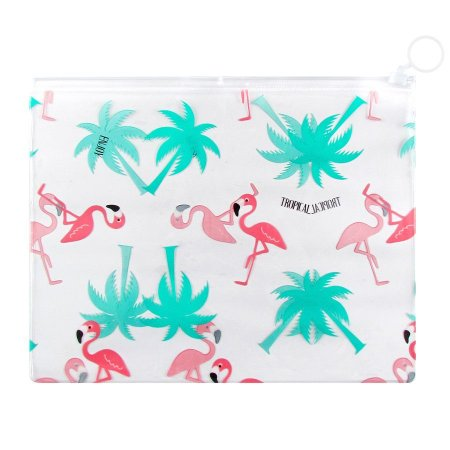 Pasta Plástica Zip Necessaire PVC Tropical Flamingos e Palmeiras