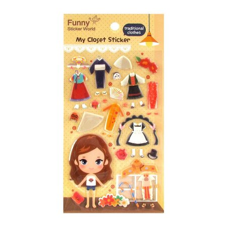 Adesivo Divertido Puffy - My Closet Sticker Traditional Clothes