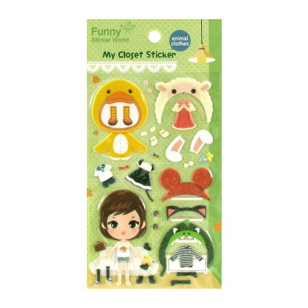Adesivo Divertido Puffy - My Closet Sticker Animal Clothes