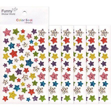 Adesivo Divertido Papel - Color Seal Estrelas Coloridos M Brilhante 6 Cartelas
