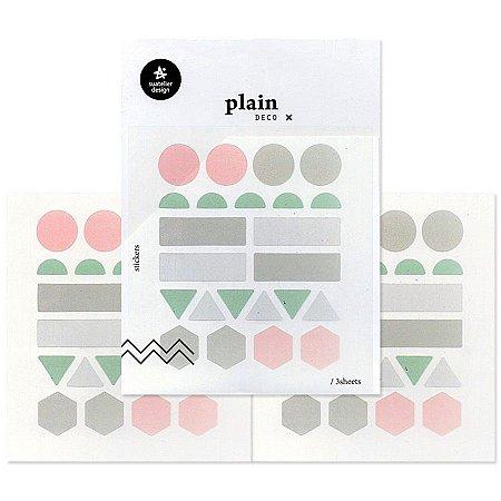 Adesivo Divertido Transparente - 3 Cartelas Plain Deco + n.03