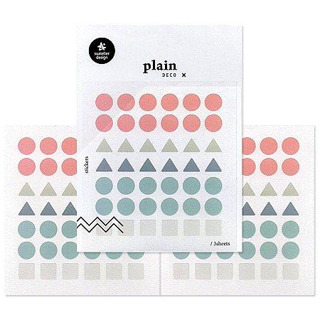 Adesivo Divertido Transparente - 3 Cartelas Plain Deco + n.02