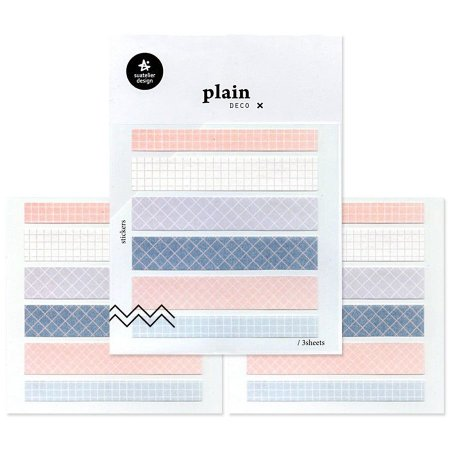 Adesivo Divertido Papel - 3 Cartelas Plain Deco + n.06
