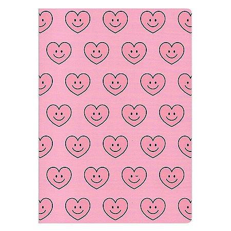 Caderno Brochura A4 Corações Rosa - Artbox
