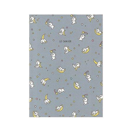Caderno Brochura Le Cahier Michin Tokki Coelho Mito Lua Azul M - Artbox