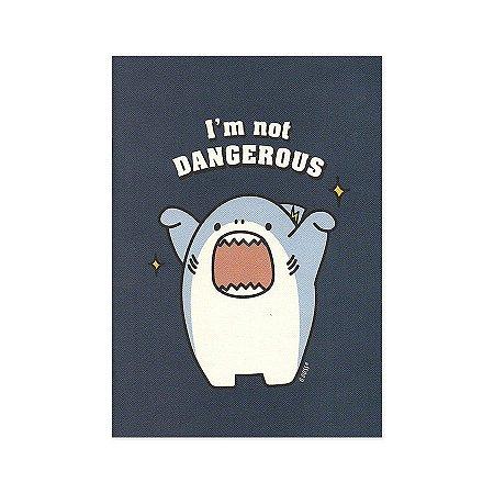 Caderno Brochura I'm Not Dangerous Galapagos Friends Tubarão Boss Azul Marinho M - Artbox
