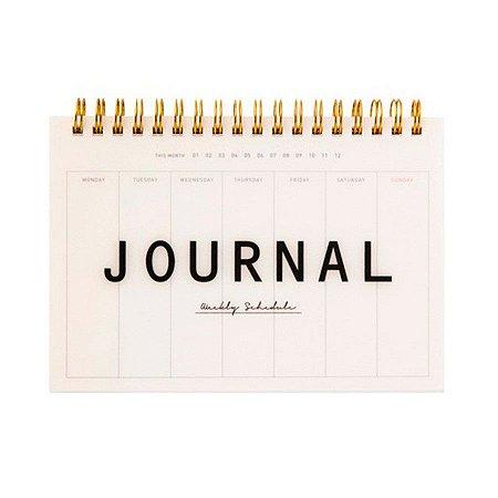 Agenda Permanente (Sem Data) Espiral Artbox - Planner Journal Weekly Schedule Branco