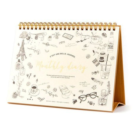 Agenda Permanente (Sem Data) Espiral Artbox - Planner Monthly Diary  Rabiscos Creme