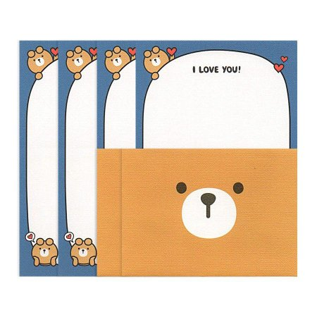 Papel de Carta Mini Letter Paper I Love You Oliver Azul Galapagos Friends