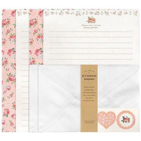 Papel de Carta Letter Paper Je T'aimerai Toujours Floral Rosa